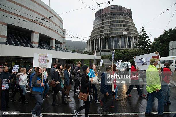People protest against the abduction of Nigerian schoolgirls as they march to Parliament grounds on May 14 2014 in Wellington New Zealand Islamist...