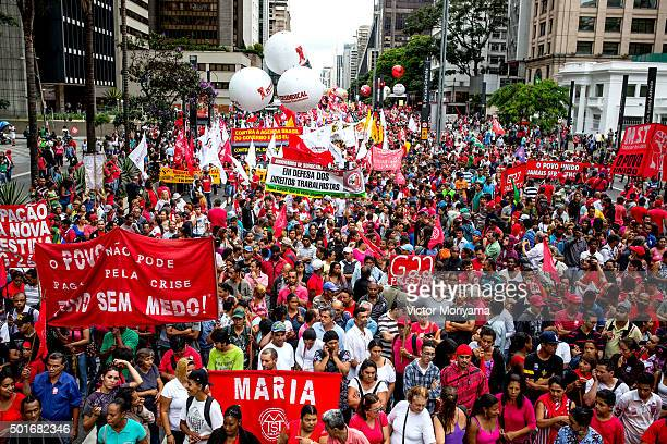 People protest against the Impeachment of President Dilma Rousseff on December 16 2015 in Sao Paulo Brazil Brazil is experiencing a political crisis...