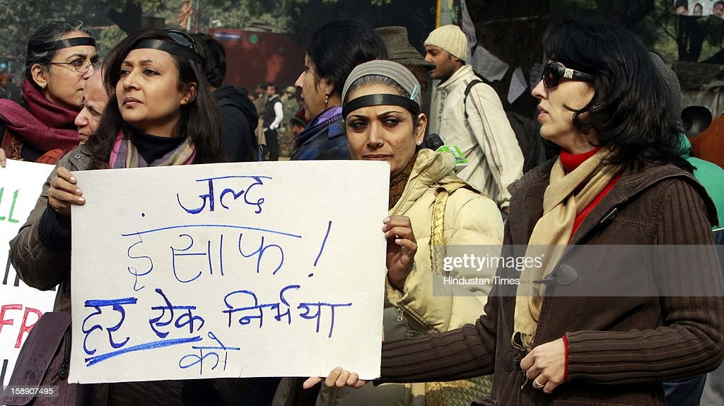 People protest and observing 'Black Day' at Jantar Mantar to seek justice for the Delhi gang rape victim on January 3, 2013 in New Delhi, India.