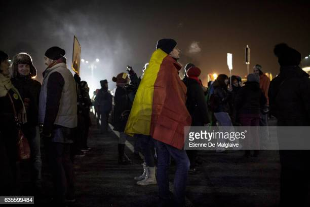 People protest in front of the government headquarters at the Victory square are now demanding resignation of PM Sorin Grindeanu Romania protests...