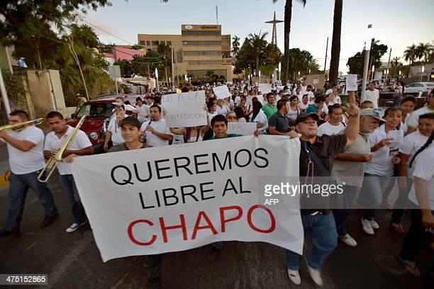 People protest in support of Mexican drug kingpin Joaquin Guzman Loera aka 'el Chapo Guzman' at Culiacan Sinaloa State Mexico on February 26 2014...