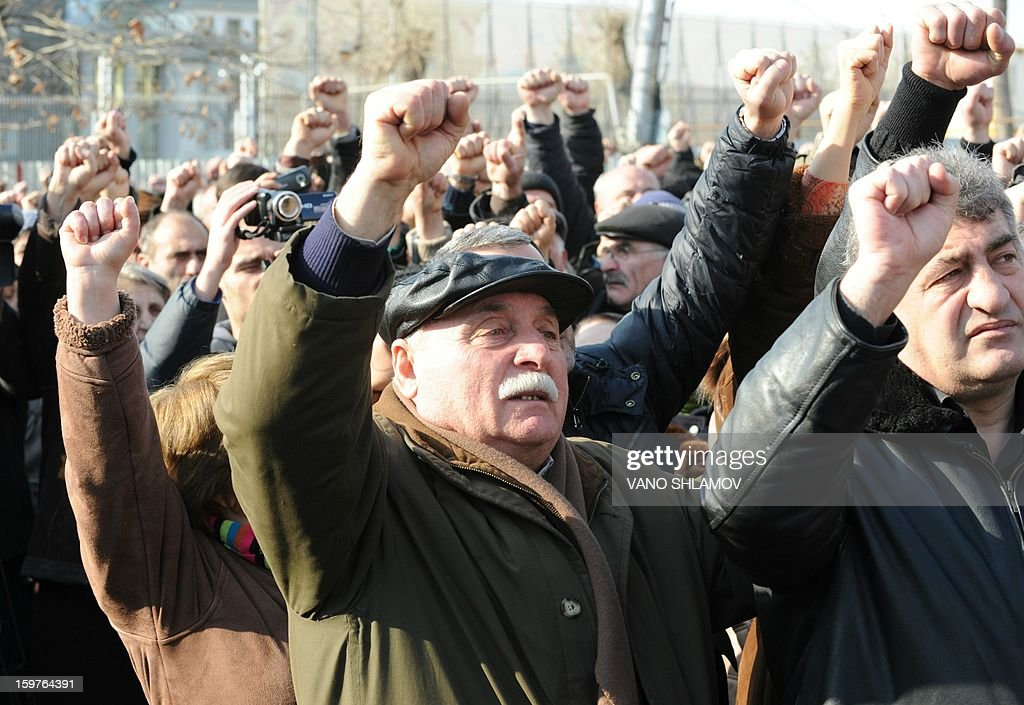 People protest in Tbilisi during an opposition rally in Tbilisi, on January 20, 2013.
