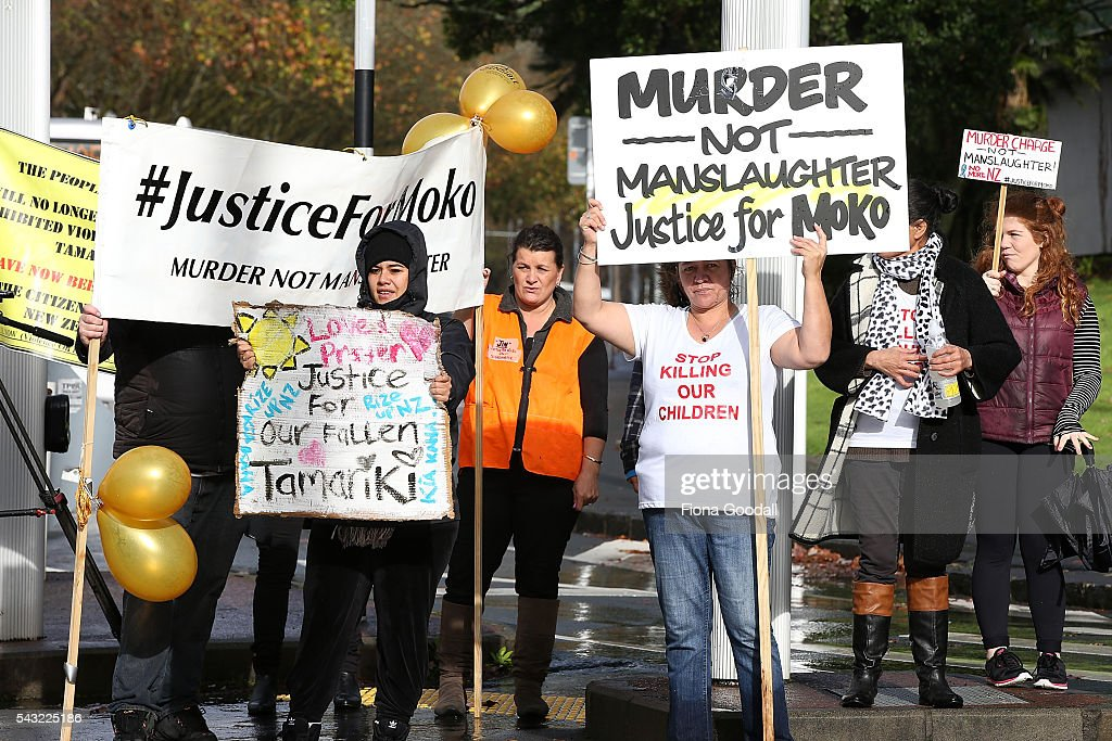 People protest outside Auckland High Court on June 27, 2016 in Auckland, New Zealand. Three year old toddler Moko Rangitoheriri died on August 10, 2015 from injuries he received during prolonged abuse and torture at the hands of his carers. His killers Tania Shailer and David Haerewa were sentenced at Rotorua High Court today.