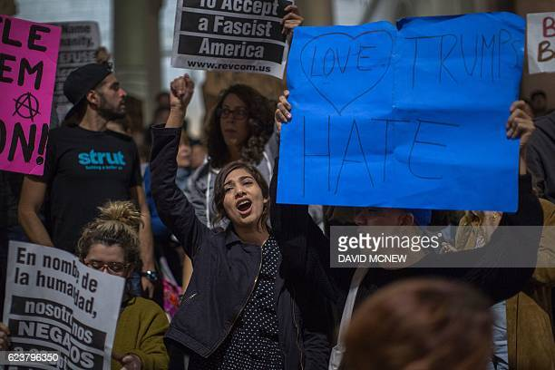 People protest the appointment of white nationalist altright media mogul former Breitbart News head Steve Bannon to be chief strategist of the White...
