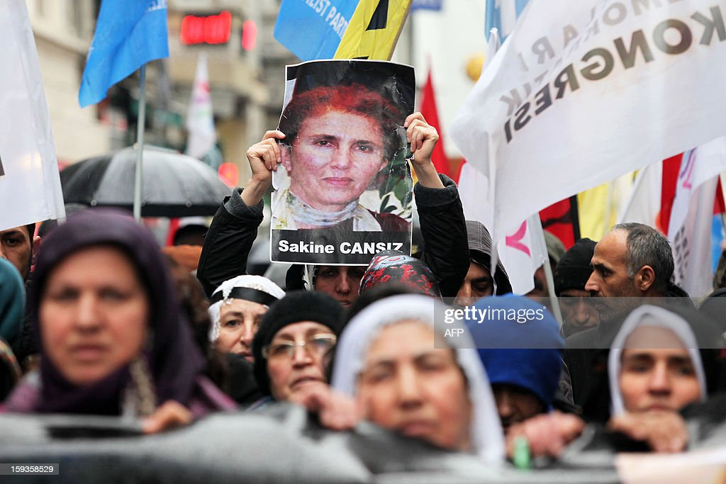 People protest the killings of three Kurdish women activists in France during a rally in front of the French Consulate in Istanbul on January 11, 2013. Demonstrators gathered at the French Consulate in Istanbul following the killings of three Kurdish women activists on 10 January, including Sakine Cansiz, a founding member of the militant Kurdistan Workers Party (PKK). Cansiz, who had been living in exile in France for years, was found dead in the early hours of 10 January in a Kurdish documentation centre on the first floor of an apartment building near Gare du Nord train station. Two other women - the president of the centre, Fidan Dogan, and Leyla Soylemez, also described as an activist - were also killed.