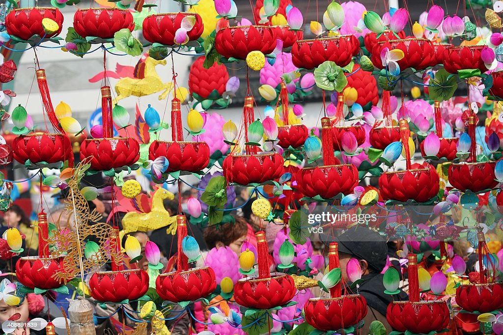 People purchase lanterns at a market at Confucius Temple on February 11, 2014 in Nanjing, China. Lantern Festival is a Chinese festival celebrated on the fifteenth day of the first month in the lunar year in the Chinese calendar.