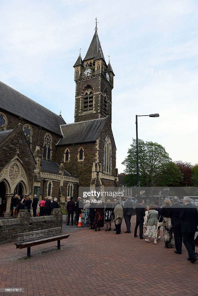People queue as Katherine Jenkins performs a fundraiser at St David's Church, Neath, in aid of the St David's Church Tower Restoration Appeal on May 7, 2013 in Neath, Wales.