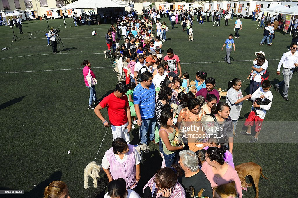 People queue for pet food during a pet sterilization campaign at Las Golondrinas neighbourhood in Mexico City, on January 10, 2013. The local government started a sterilization campaign for stray dogs and cats. AFP PHOTO/Alfredo Estrella