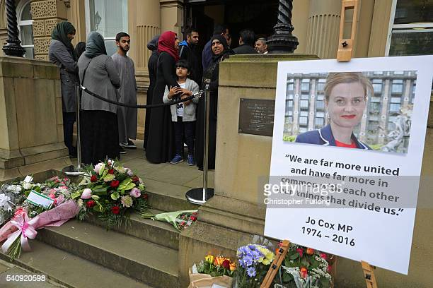People queue outside Batley town hall to sign a book of condolence for Labour MP for Batley and Spen Jo Cox who was shot and stabbed yesterday at her...