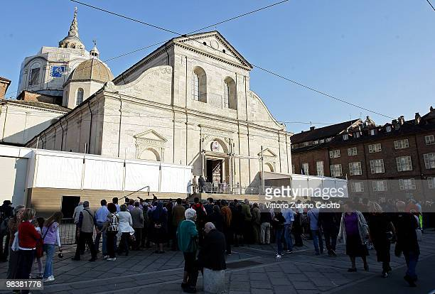 People queue to enter during the Solemn Exposition Of The Holy Shroud on April 10 2010 in Turin Italy The Holy Shroud will be displayed at the...
