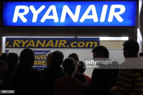 People queue up at a Ryanair information and ticketing office at Barajas airport on April 20 2010 in Madrid Spain Madrid airport is acting as a...