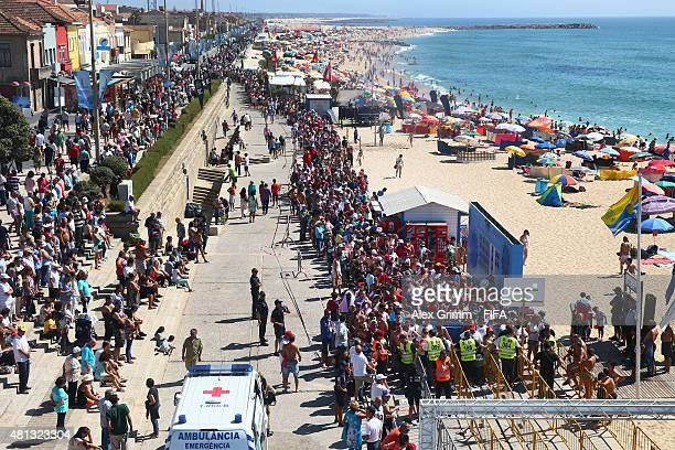 People queue up in front of the stadium prior to the FIFA Beach Soccer World Cup Portugal 2015 Third Place match between Italy and Russia at Espinho...