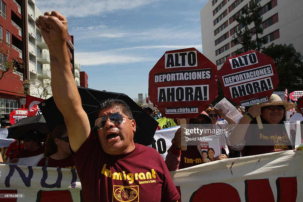 People rally in one a several May Day immigrationthemed events on May 1 2014 in Los Angeles California Demonstrators are calling for immigration...
