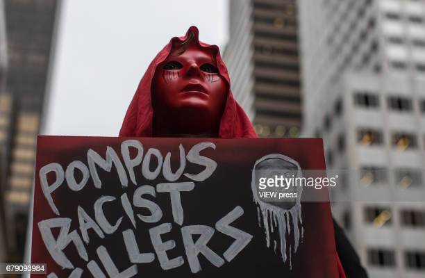 People rally outside Trump Tower to protest during the first return of US President Donald Trump to the city after taking office on May 04 2017 in...