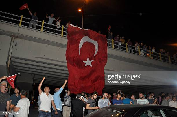 People react against uprising attempt from within the army in Konya Turkey on July 16 2016