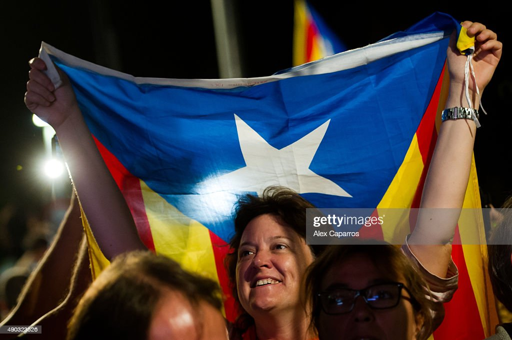 People react to results from the regional elections held in Catalonia on September 27 2015 in Barcelona Spain The main Catalanist parties Catalan...