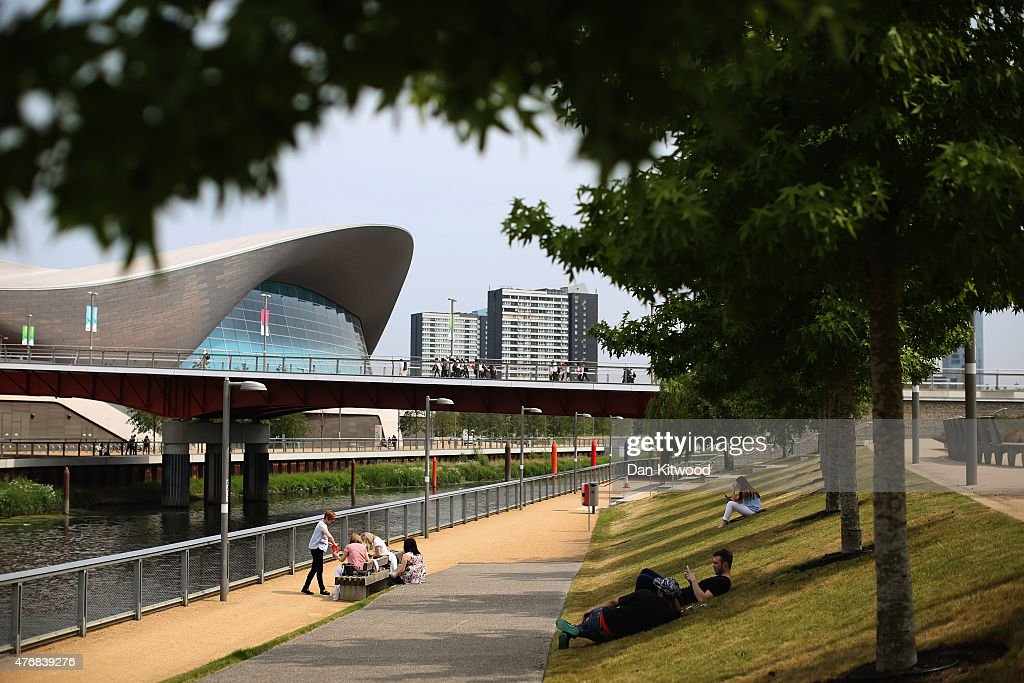 People Relax Along The Canal At Olympic Park On June 12 2015 In London