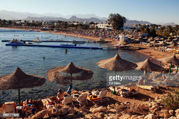 People relax on beach chairs at a beach popular with tourists on October 26 2013 in the Red Sea resort town of Sharm El Sheikh Egypt Sharm elSheikh...