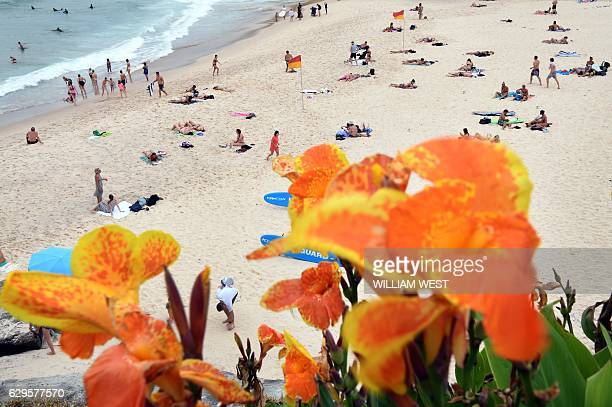 People relax on the beach in the Sydney suburb of Tamarama on December 14 2016 after Sydneysiders sweltered through the hottest night ever recorded...