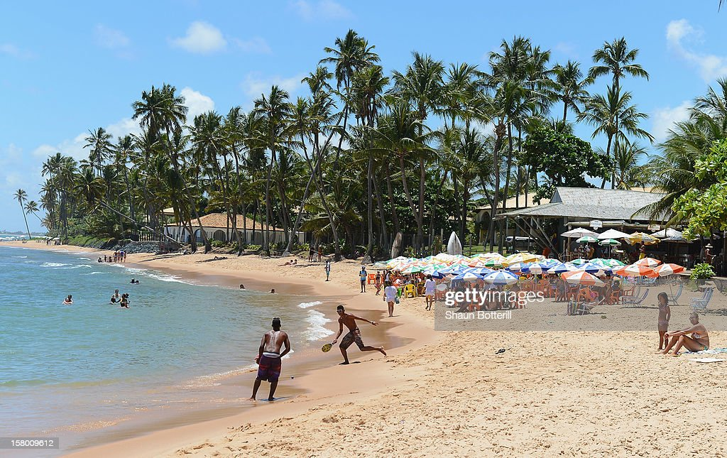People relax on the beaches of Bahia on December 7 2012 in Praia do Forte Brazil