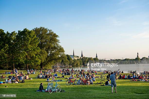 People relaxing at Lake Aussenalster