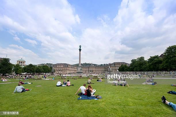 People relaxing at 'Schlossplatz'