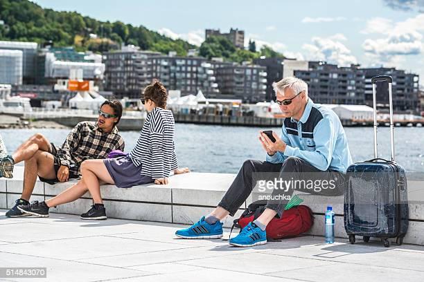 People relaxing in  Oslo, Norway