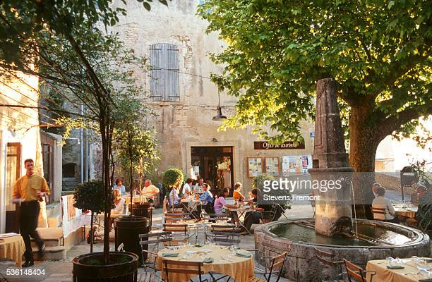 People relaxing on a restaurant terrace