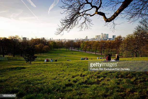 People relaxing on hill in urban park