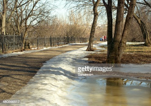 People rest in the spring park : Stock Photo