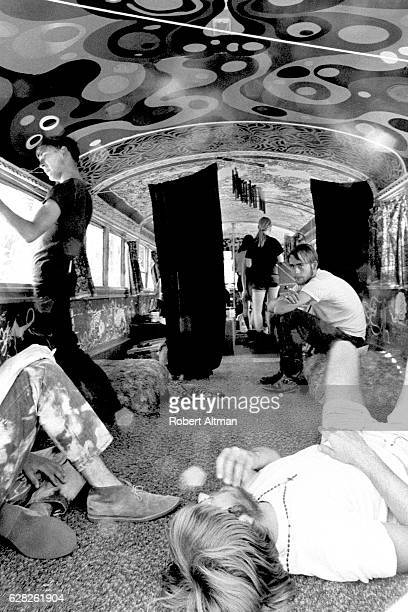 People ride on a Hippie bus circa 1968 in San Francisco California