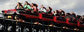 People ride the new Stealth ride at Thorpe Park on April 17 2006 in Chertsey England Thousands of people flocked to see the new Rollercoaster...