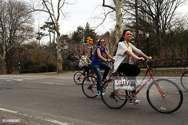 People ride their bicycles in Central Park on a warm afternoon on March 10 2016 in New York City New York City and much of the Northeast has been...