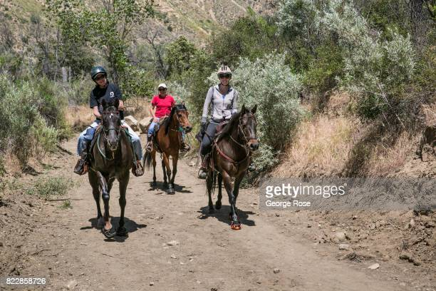 People riding horses at Rancho Oso Resort in Santa Barbara County's backcountry are viewed on May 13 near Santa Ynez California Located 45 minutes...