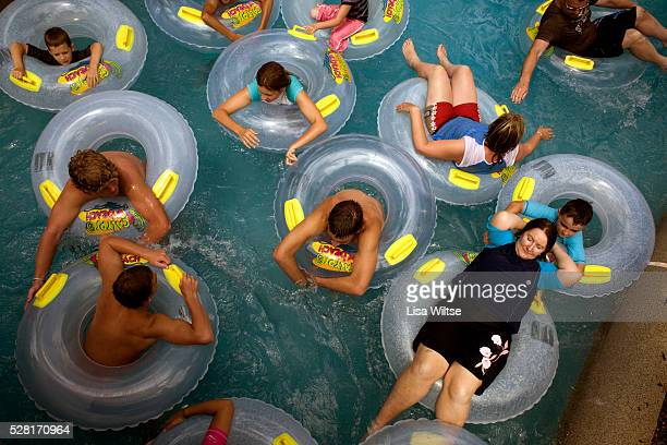 People riding in inner tubes at Calypso beach at the Wet 'n' Wild theme park in the Gold Coast Australia January 22 2009 Photo by Lisa Wiltse