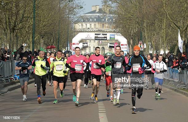 People running the Paris semi marathon at Chateau De Vincennes on March 3 2013 in Paris France