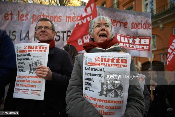 People selling farleft newspapers during the demonstration More than 4000 protesters took to the streets of Toulouse against the new Macron's reforms...