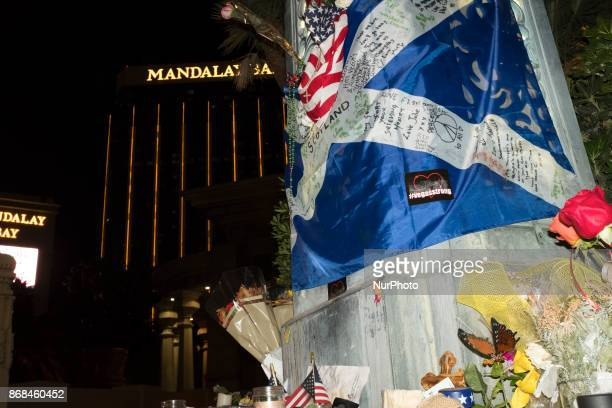 People set up memorial near Mandalay Bay Resort and Casino after the shooting in Las Vegas Nevada that took 58 lives October 28 2017 On the night of...
