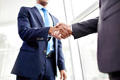 Handshake of two business people in the office