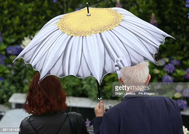 People shelter from rain at the Bloom festival in Dublin's Phoenix Park
