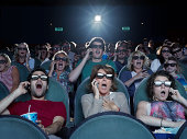 People shocked at a movie theater on their phones