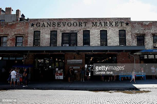 People shop and eat at Gansevoort Market in Meatpacking District on August 12 2015 in New York City