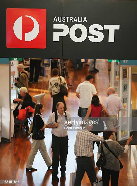 People shop at an Australia Post store at the World Stamp Expo on May 10 2013 in Melbourne Australia The World Stamp Expo is the largest exhibition...