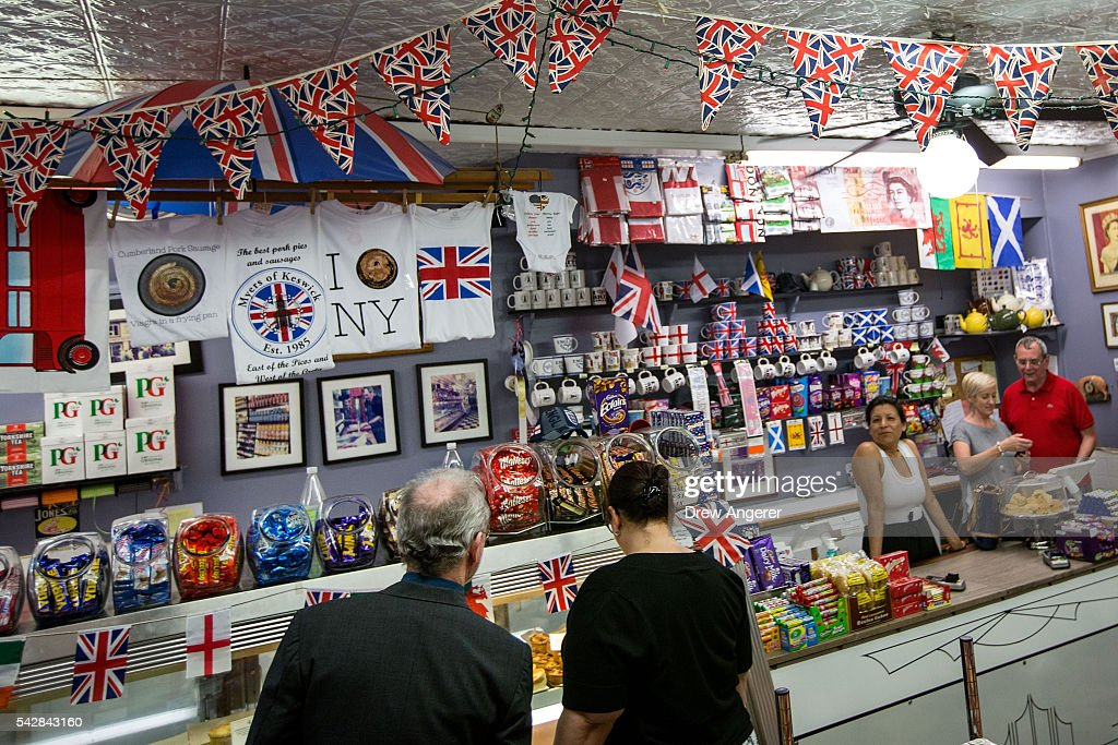 People shop at Myers of Keswick, a British grocery store, June 24, 2016 in New York City. British citizens voted in a referendum (also known as the Brexit) to leave the European Union which has caused uncertainty across the world.