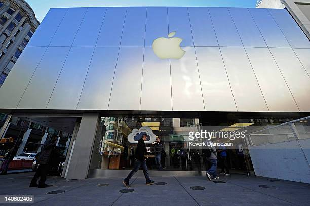 People shop for Apple products at the Apple store on March 6 2012 in San Francisco California Apple Inc will unveil the new iPad during a news...