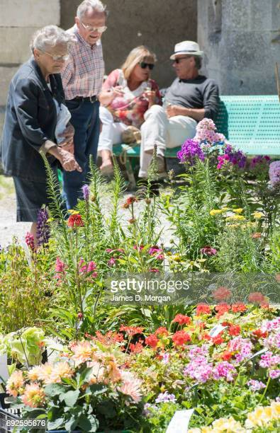 People shop for plants and drink wine at a local fair on June 5 2017 in Saussignac France Monday is a public holiday in France celebrating 'Lundi de...