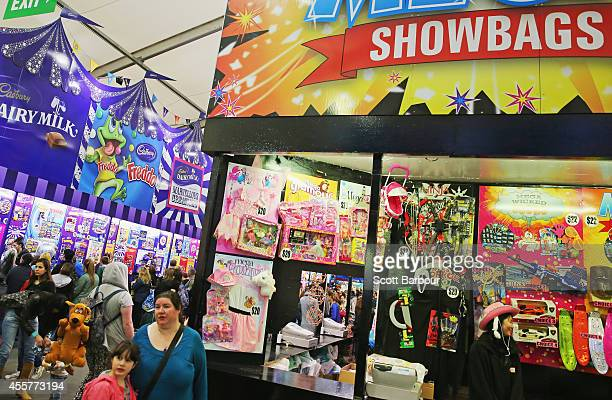 People shop for showbags in the Showbag Pavilion at the 159th annual Royal Melbourne Show at the Royal Melbourne Showgrounds on September 20 2014 in...