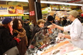 People shop in the newly reopened Fairway Market on the waterfront in Red Hook on March 1 2013 in the Brooklyn borough of New York City Fairway which...