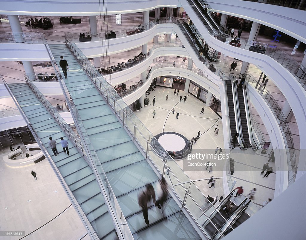 People shopping at luxury shopping mall in Seoul