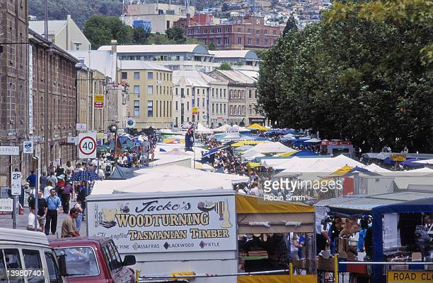 People shopping at Saturday market, Salamanca Place, Hobart, Tasmania